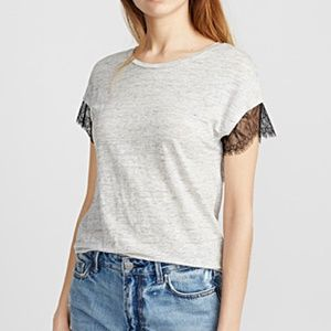 *3for$30* Gray lace sleeve 100% linen tee NWT
